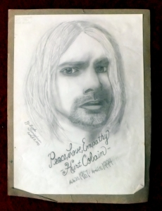drawn by Living Dead Girl Nicole for art class in jr high. 1 year anniversary of Kurts passing