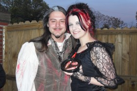 Living Dead Girl Nicole and husband Frank as Sweeney Todd and Mrs Lovett - Costumes for Halfway To Halloween Breast Cancer Benefit