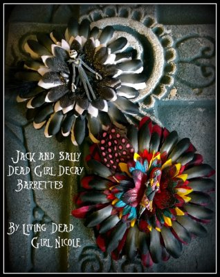 Jack and Sally Barrettes made by Living Dead Girl Nicole