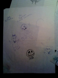 Nightmare Before Christmas sketches done by Living Dead Girl Nicole when she was 12 years old