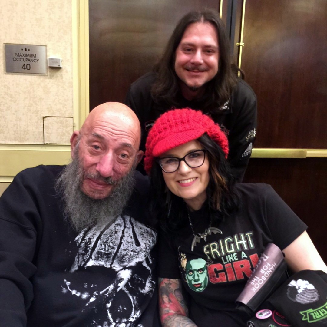Artist Living Dead Girl Nicole and husband Frank with actor Sid Haig