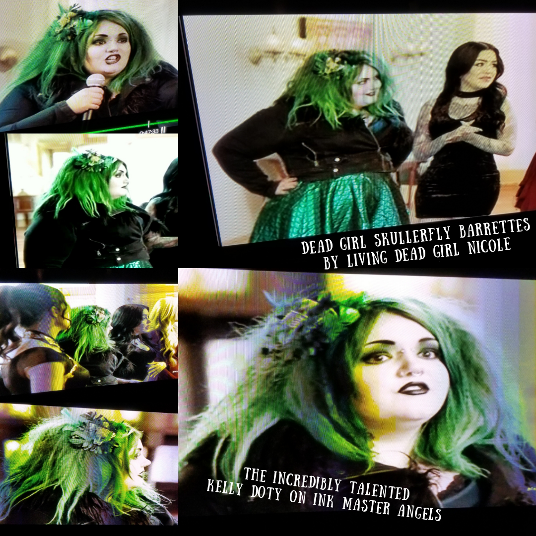 Kelly Doty Wearing Living Dead Girl Nicole's Skullerfly Barrette On Ink Master Angels